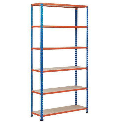 Rapid 2 Shelving (2440h x 915w) Blue & Orange - 6 Chipboard Shelves