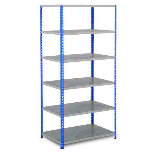 Rapid 2 Shelving (2440h x 1220w) Blue & Grey - 6 Galvanized Shelves