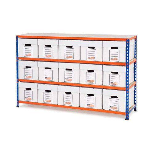 Rapid 2 Storage Bays (990h x 1525w) 15 Economy Document Boxes