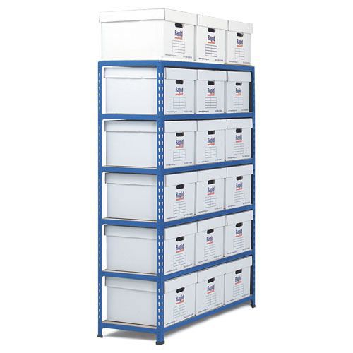 Rapid 2 Single Storage (1600h x 1120w) 18 White Document Boxes