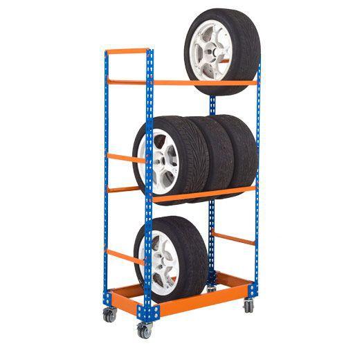 Rapid 2 Mobile Tyre Racks (1700h x 915w) In Blue & Orange