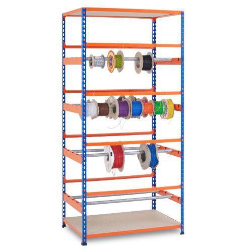 Rapid 2 Full Height Reel Racks (1980h x 915w) In Blue & Orange