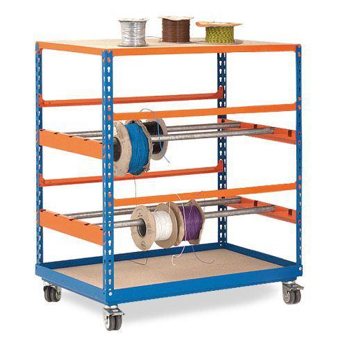 Rapid 2 Mobile Reel Racks (1090h x 915w) In Blue & Orange
