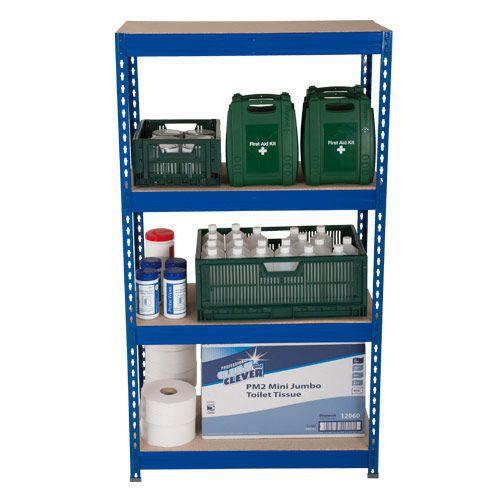 Rapid 3 Shelving (1600h x 1200w) Blue - 4 Fibreboard Shelves