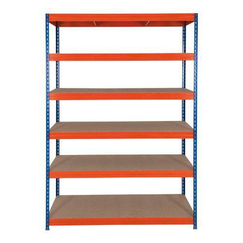 Rapid 3 Shelving (1600h x 1200w) Blue & Orange - 6 Fibreboard Shelves