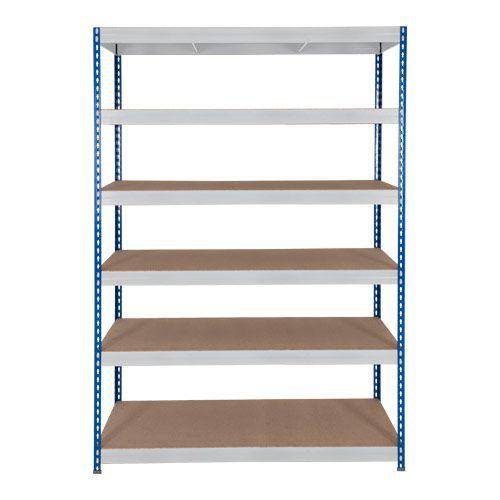 Rapid 3 Shelving (1600h x 1500w) Blue & Grey - 6 Fibreboard Shelves