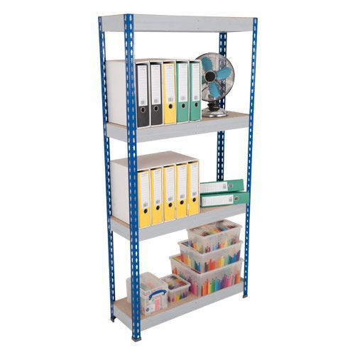 Rapid 3 Shelving (1800h x 1200w) Blue & Grey - 4 Fibreboard Shelves