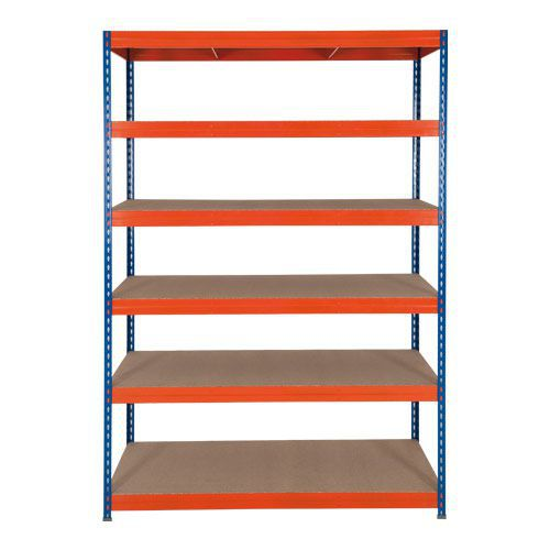Rapid 3 Blue/Orange Shelving with 6 Fibreboard Shelves (1800h x 1500w)