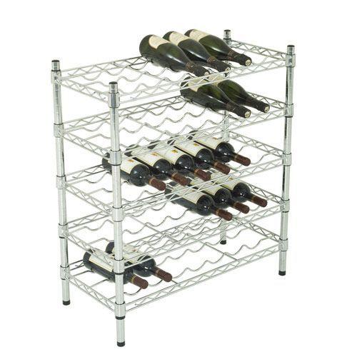 Chrome Wine Rack (838h x 760w) For 35 Bottles