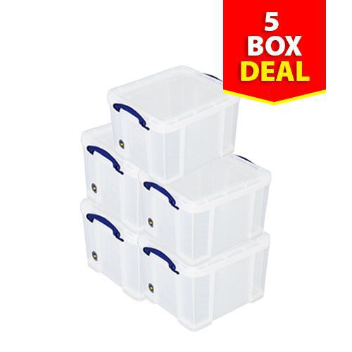Pack of 5 Clear Really Useful Boxes