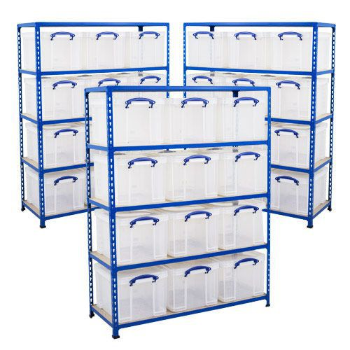 3 Bays of Shelving (1600h x 1220w) With 12 Really Useful Storage Boxes