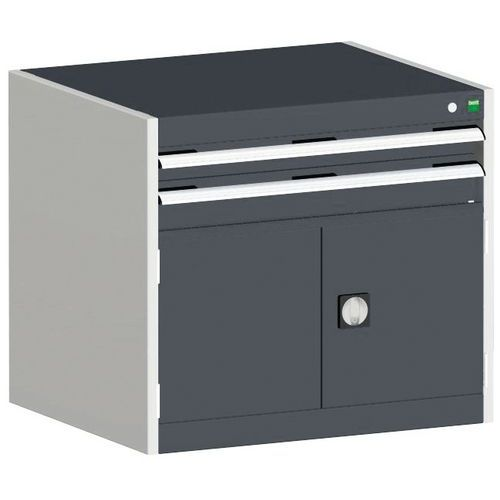 Bott Cubio Combi Cabinet Perfo Doors 1 Shelf And 2 Drawers WxD 800x650