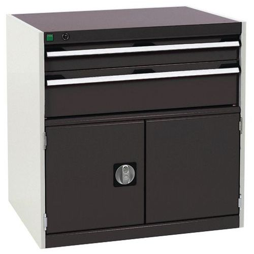 Bott Cubio Combi Cabinet Perfo Doors 1 Shelf And 2 Drawers WxD 800x650