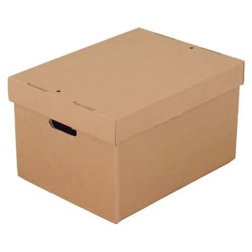 Document Storage Box Brown Plain including Lid