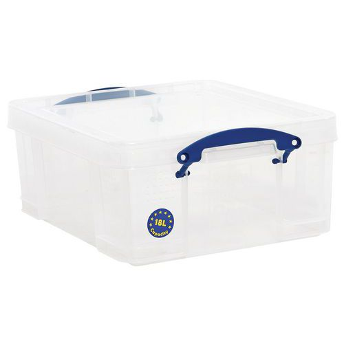 18L Really Useful Storage Boxes With Lids - Transparent Plastic