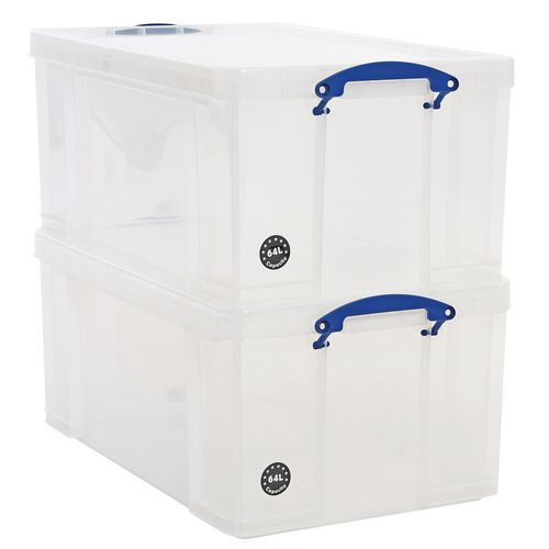 64L Really Useful Storage Boxes - Pack of 2 - Transparent Plastic