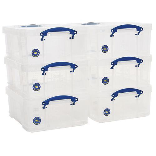 18 L Clear Really Useful Box Pack of 6