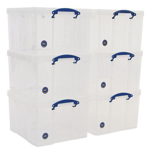 42 L Clear Really Useful Box Pack of 6