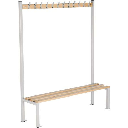 Single Sided 1800mm Changing Room Bench With Coat Hooks and Shoe Storage