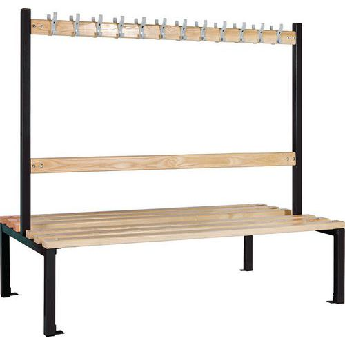 School 1370mm Double Sided Changing Room Bench With Coat Hooks and Shoe Storage