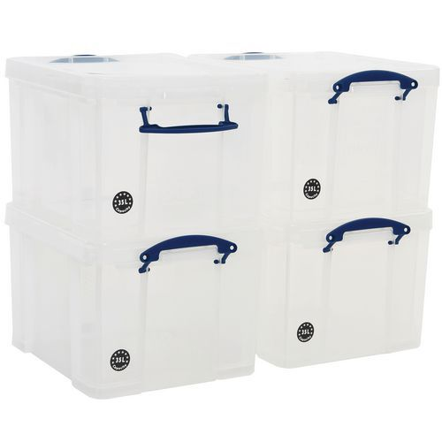 35 L Clear Really Useful Box Pack of 4