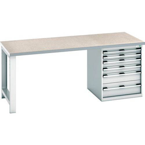 Bott Cubio Heavy Duty Workbench With Lino Worktop & Drawers HxWxD 840x2000x900mm
