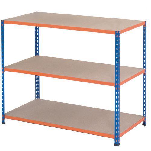 Rapid 1 BlueOrange Shelving with 3 Chipboard Shelves (1830wx610d)