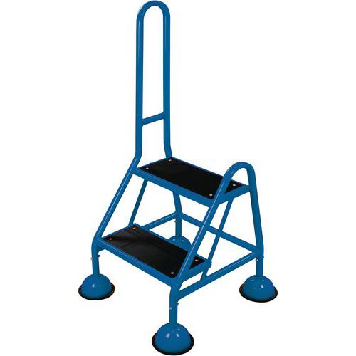 Mobile Warehouse Step Ladders With Handle And Ribbed Rubber Steps