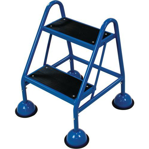 Mobile Step Ladder With Two Ribbed Rubber Steps