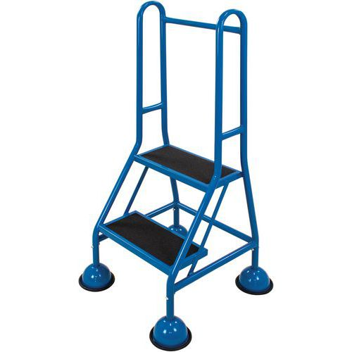 Mobile Warehouse Step Ladders With Guardrail And Anti-Slip Steps
