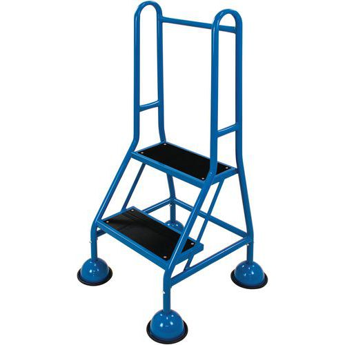 Mobile Warehouse Step Ladders With Guardrail And Ribbed Rubber Steps