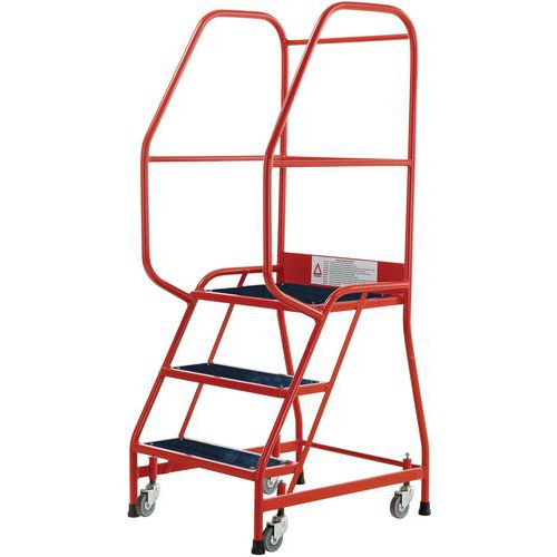 Industrial Step Ladders With Guardrails And Ribbed Rubber Steps