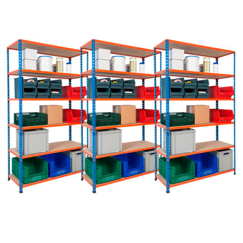 3 Bays of Rapid 2 Shelving - 6 Chipboard Shelves 1980h x 1220w