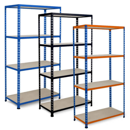Rapid 2 - 3 Bay Offer - Blue with 4 Chipboard Shelves 1600h x 915w