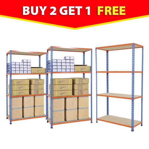 Rapid 2 - 3 Bay Offer - Blue & Orange with 4 Chipboard Shelves 1600h x 915w