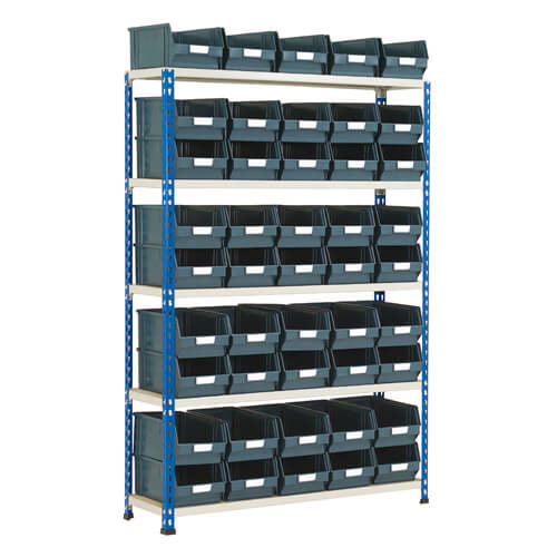 Rapid 2 Shelving Bay (1600h x 1120w) With 45 Picking Bins