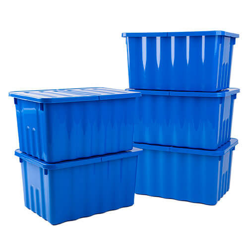 10 Litre Blue Storage Boxes - Pack of 5