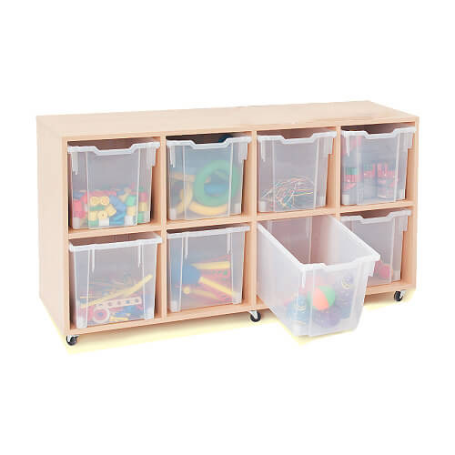 Mobile Melamine Storage Unit (754h x 1353w) Complete With 8 Jumbo Gratnells Trays