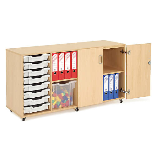 Lockable Mobile Wooden Unit (754h x 1353w) With 8 Gratnells Trays