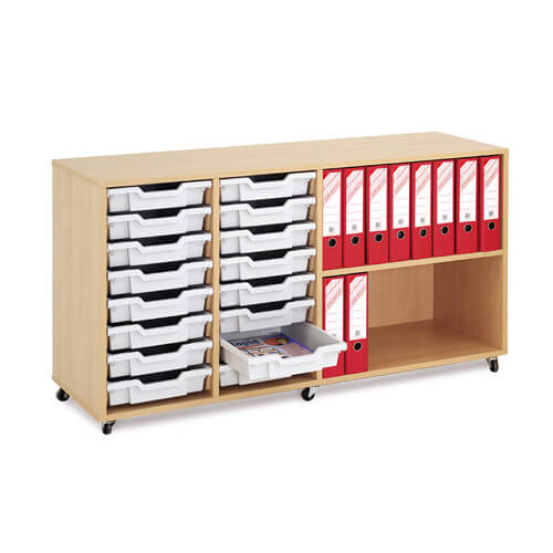Mobile Melamine Storage Unit (754h x 1350w) Complete With 16 Shallow Gratnells Trays