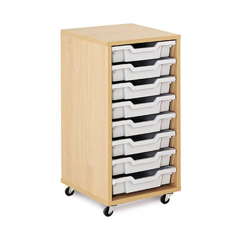 Mobile melamine storage unit with 8 shallow gratnells for Shallow shelving unit