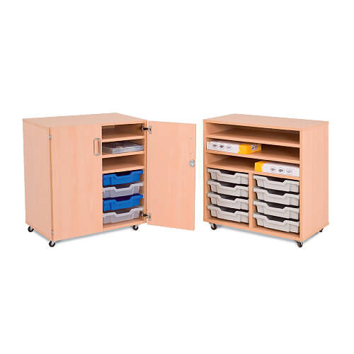 Mobile Melamine Unit (754h x 710w) With 3 Shelves and 8 Gratnell Trays