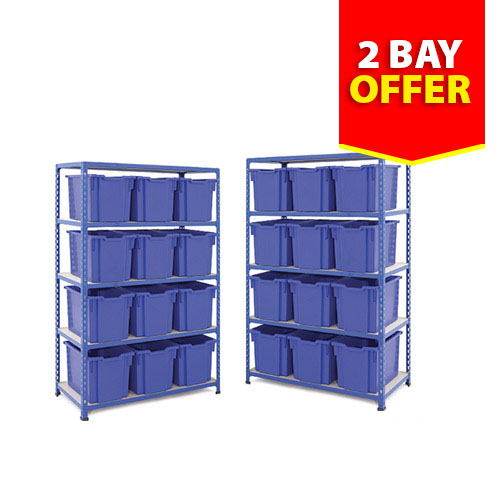 Two Rapid 2 Shelving Bays - 24 Jumbo Gratnells Trays