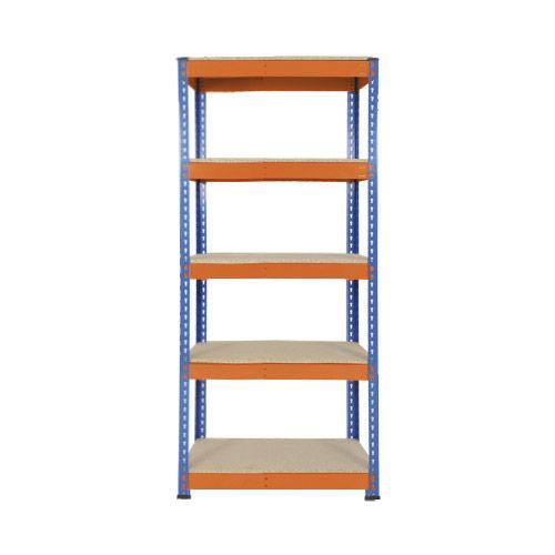 Rapid 1 Heavy Duty Shelving (1980h x 915w) Blue & Orange - 5 Chipboard Shelves