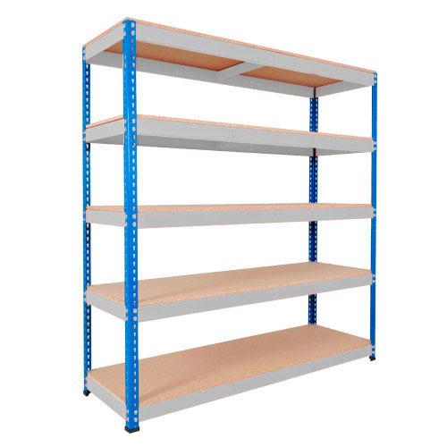 Rapid 1 Heavy Duty Shelving (1980h x 1220w) Blue & Grey - 5 Chipboard Shelves