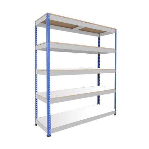 Rapid 1 Heavy Duty Shelving (1980h x 1525w) Blue & Grey - 5 Melamine Shelves