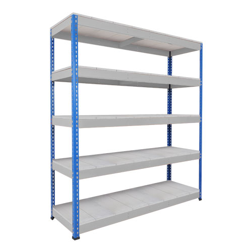Rapid 1 Heavy Duty Shelving (1980h x 1525w) Blue & Grey - 5 Galvanized Shelves