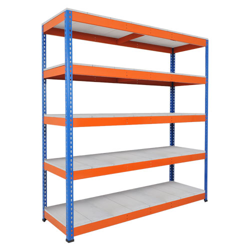 Rapid 1 Heavy Duty Shelving (1980h x 1525w) Blue & Orange - 5 Galvanized Shelves