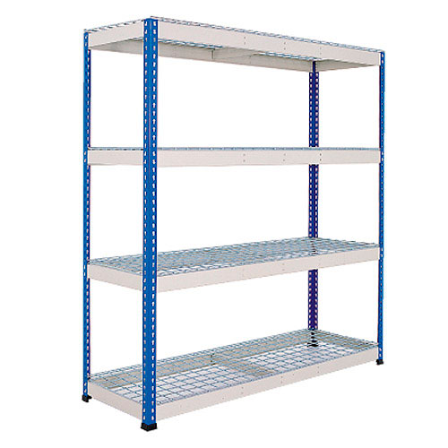 Rapid 1 Heavy Duty Shelving (1980h x 1830w) Blue & Grey - 4 Wire Mesh Shelves
