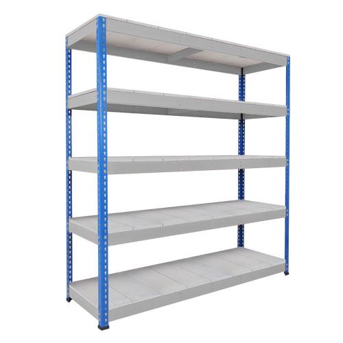Rapid 1 Heavy Duty Shelving (1980h x 1830w) Blue & Grey - 5 Galvanized Shelves